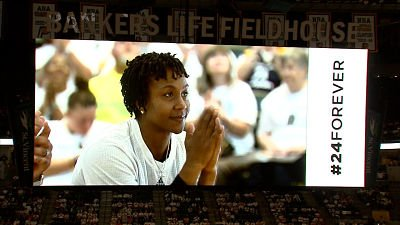 Tamika Catchings listened intently throughout her retirement ceremony. Photo by WTHR TV, Indianapolis.