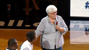 "Former Fever coach Lin Dunn told Catchings that Tennessee coach Holly Warlick and former assistant coach Mickie DeMoss ""treasure you."" Photo by WTHR TV, Indianapolis."