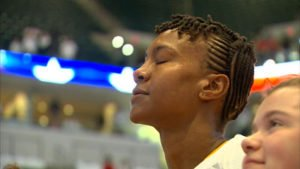Tamika Catchings was surrounded by family during the ceremony. Photo by WTHR TV, Indianapolis.