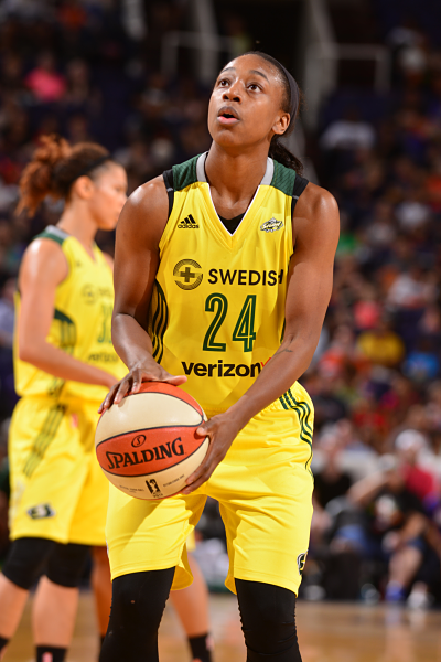 Jewell Loyd's increased production, confidence and poise this season makes a strong case for her to win the Most Improved Player Award. Photo courtesy of Storm Basketball.