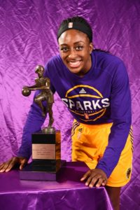 Nneka Ogwumike poses with the MVP trophy. Photo by Andrew Bernstein/NBAE/Getty Images.