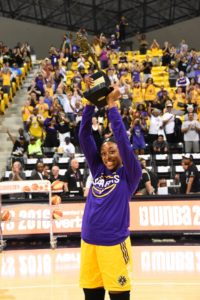 Nneka Ogwumike receives the MVP trophy in front of Sparks fans. Photo by Andrew Bernstein/NBAE/Getty Images.