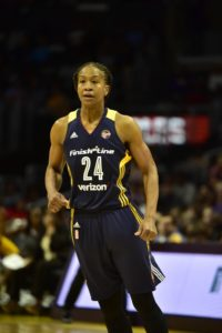 Tamika Catchings during this month's match up with the Sparks in Los Angeles. Photo by Mark Hammond.