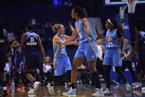 Courtney Vandersloot and Cappie Pondexter celebrate a bucket. Photo courtesy of Chicago Sky.