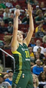 Breanna Stewart set the single-season record for defensive rebounds in the Storm's last regular-season game, with 277. Photo by Neil Enns/Storm Photos.