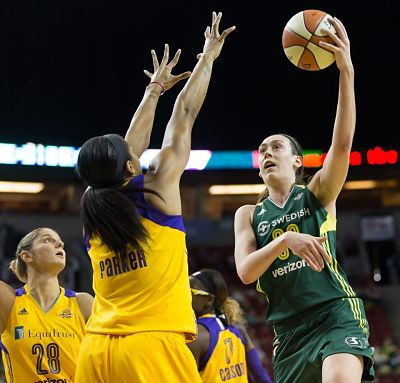 Breanna Stewart puts up a hook shot against Candace Parker. Photo by Neil Enns/Storm Photos.