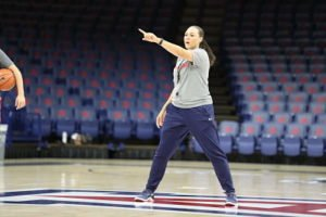 Head coach Adia Barnes conducts a recent practice at the University of Arizona. Photo courtesy of Arizona Athletics.