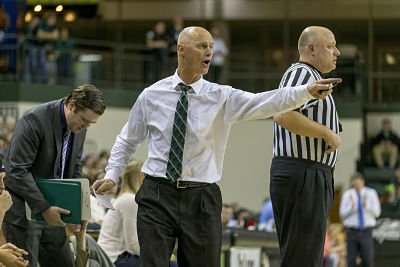 Green Bay coach Kevin Borseth calls out directions during a game last December. Photo by Mike Roemer.