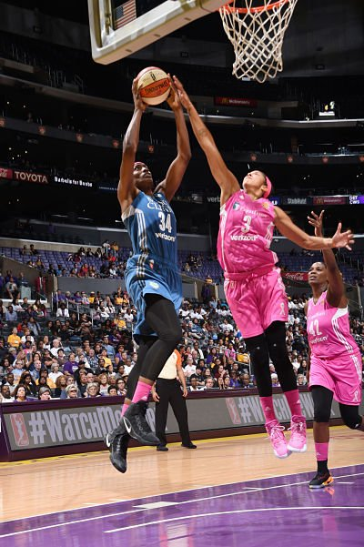 Sylvia Fowles tries to put up a shot against Candace Parker during the third season meeting between the two games on Sept. 6. Minnesota won the series, 2-1. Photo courtesy of WNBA.
