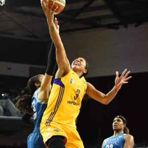 Candace Parker goes up for two points. Photo by Juan Ocampo/NBAE via Getty Images.