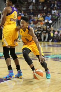 Nneka Ogwumike sets a screen for Alana Beard in Game 3. Beard says Sparks players have learned to sacrifice for one another. Photo by Ken Brooks/T.G.Sportstv1