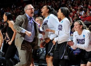 Coach Mike Neighbors and the Washington Huskies celebrate their regional win and advancement to the Final Four last March. Photo courtesy of University of Washington Athletics.