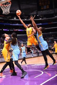 Nneka Ogwumike goes to the basket against the Chicago Sky. Photo by Juan Ocampo/NBAE via Getty Images.