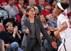 Tara VanDerveer makes a point during last spring's NCAA Tournament match up with South Dakota State. Photo by Bob Drebin/isiphotos.com.