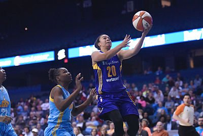 Kristi Toliver drives for two of her 21 points against the Sky. Photo courtesy of the Chicago Sky.