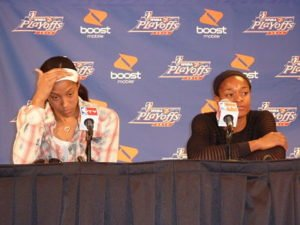 Candace Parker and Alana Beard absorb their Western Conference Finals loss to the Minnesota Lynx on Oct. 7, 2012, in the post-game press conference. Photo by Sue Favor.