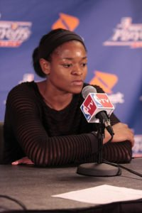 Alana Beard speaks to the media after the Sparks lost to the Lynx in the Western Conference Finals on Oct. 7, 2012. Photo by TGSportstv1.