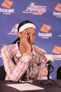 Candace Parker speaks to the media after the Sparks lost to the Lynx in the Western Conference Finals on Oct. 7, 2012. Photo by TGSportstv1.