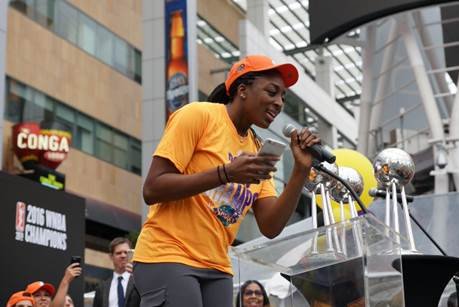 WNBA regular-season MVP Nneka Ogwumike takes a turn speaking to fans. Photo courtesy of LA Sparks.