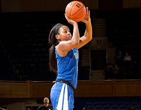 Junior guard Lexie Brown has fit in well at Duke since transferring from Maryland. She averages 19 points per game this season. Photo by goduke.com.