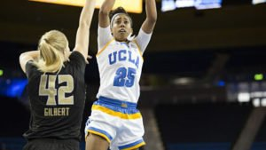 Monique Billings goes up for two of her 15 points against Cal Poly. Photo courtesy of UCLA Athletics.
