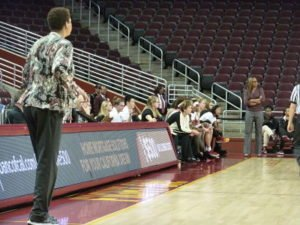 Cal State LA coach Cheryl Miller and USC coach Cynthia Cooper-Dyke in the first quarter of play Friday night. Photo by Sue Favor.