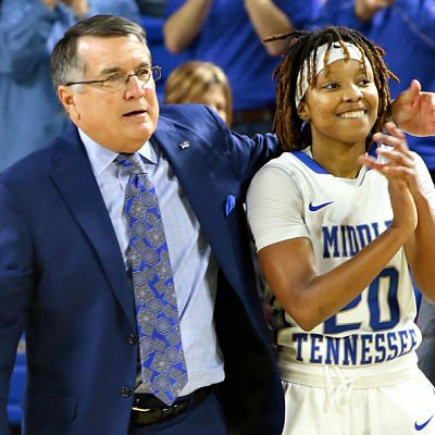 Rick Insell and Blue Raider guard Ty Petty. Photo by Brent Beerends/MT Athletics.