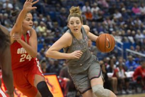 Katie Lou Samuelson drives to the basket. Photo by Stephen Slade.