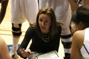 Tricia Binford explains a play at a timeout. Photo courtesy of Montana State Athletics.
