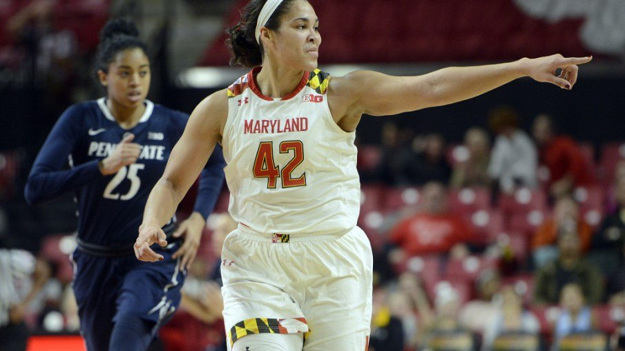 Brionna Jones tied Maryland's record for points in a game last week with 42. She also nabbed her 1,000th career rebound. Photo courtesy of Maryland Athletics.