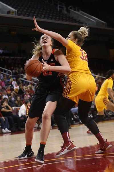 Marie Gulich powers past Dani Milisic for the basket. Photo by Marvin Jimenez/TG SportsTV1.