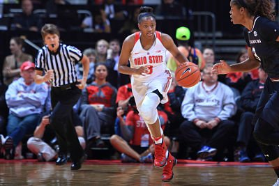 Kelsey Mitchell initiates the fast break. Photo courtesy of Ohio State Athletics.