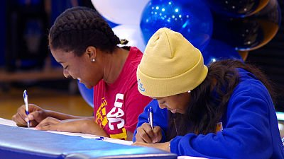 Kristen Simon and Jordin Canada signed their National Letters of Intent to USC and UCLA on Nov. 13, 2013. Photo courtesy of Windward School Communications.