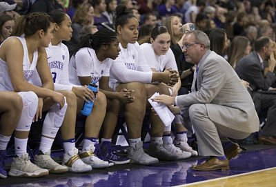 Mike Neighbors talks to reserve players during Washington's game against Washington State last month. Photo courtesy of University of Washington Athletics.