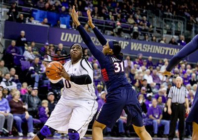 Washington's Chantel Osahor looks to take a shot. Photo by Scott Eklund/Red Box Pictures.
