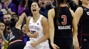 Kelsey Plum exalts after scoring against the Utes. Photo courtesy of Washington Athletics.