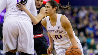 Kelsey Plum's 57-point explosion against Utah propelled her to break the NCAA all-time scoring record. Photo courtesy of Washington Athletics.