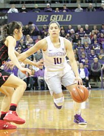 Kelsey Plum became a one-woman show against Utah Saturday, scoring 57 points to become the NCAA's all-time scoring leader. Photo by Mike Houston/T.G.Sportstv1.