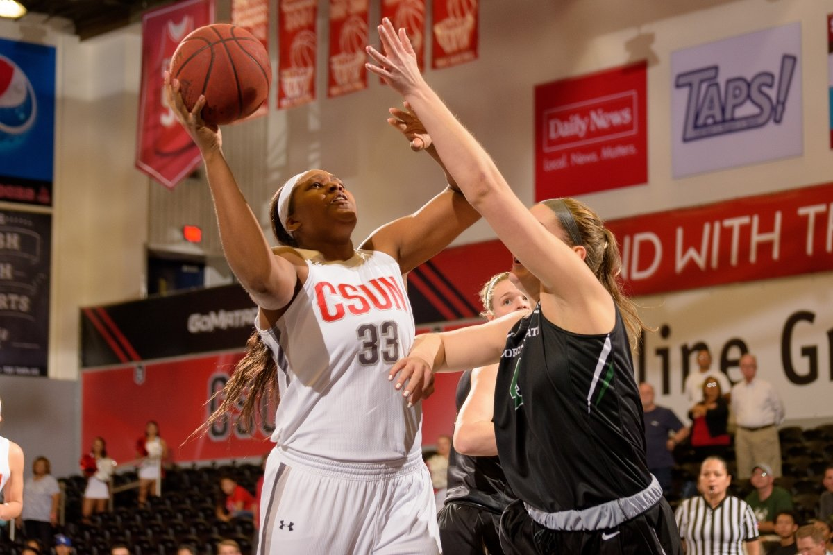 Sophomore center Channon Fluker ranks third in NCAA Division I and fifth in double-doubles. Photo by Paul Trafecanty/CSUN Athletics.
