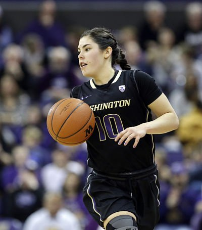 Kelsey Plum is 78 points from tying the NCAA Division I all-time scoring record after Sunday's 35-point outing. Photo by Elaine Thompson/Associated Press.