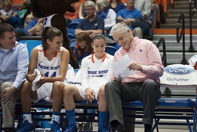 Gordy Presnell shares a laugh with his players. Photo by Boise State Photographic Services.