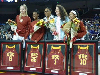 USC seniors Ivana Jakubcova, Alexis Loyd, Jordan Adams and Courtney Jaco were honored prior to tipoff Sunday. Photo by Sue Favor.