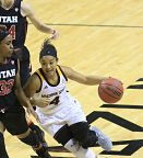 Freshman Kiara Russell drives on the fast break. Photo courtesy of Sun Devil Athletics.
