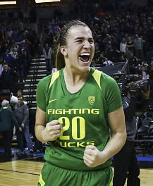Sabrina Ionescu exults after Oregon toppled Washington, 70-69, in the Pac 12 Tournament quarterfinals. Photo courtesy of Oregon Athletics.