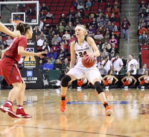 Sydney Wiese debates her passing options. Photo by Michael Houston/T.G.Sportstv1.