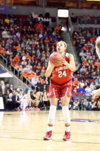Erica McCall shoots a free throw. The Stanford senior was named Tournament MVP. Photo by Michael Houston/T.G.Sportstv1.