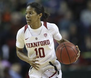 Briana Roberson was one of four Cardinal starters in double figures, with 12 points. Photo by Eric Evans Photography.