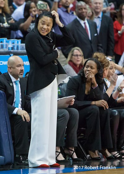 Dawn Staley at a pause in game action. Photo by Robert L. Franklin.
