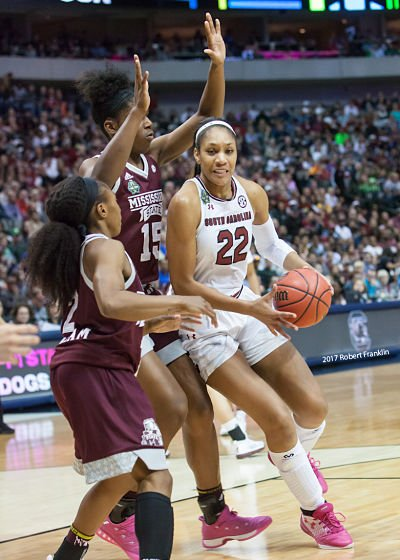 A'ja Wilson powers past the Mississippi State defense. Photo by Robert L. Franklin.