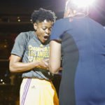 Alana Beard is delighted to receive her ring. Photo by Maria Noble/WomensHoopsWorld.